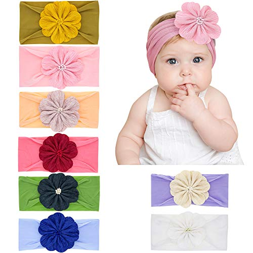 Baby Head Bands, 8 Pack Super Stretchy Nylon Headbands for Baby Girls Newborn Infant Toddler Kids, Hair Bands Accessories by Wish