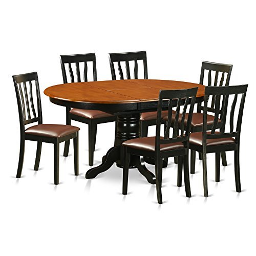 East West Furniture AVAT7-BLK-LC 7 Piece Table and 6 Kitchen Chairs Dining Set