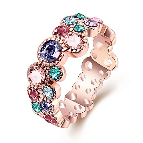 (Lunule Rose Gold Plated Hollow Colorful Cubic Zirconia Rings Size 6-8)