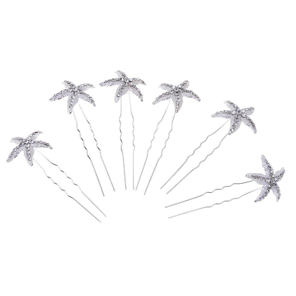 6 Pcs Bridal Wedding Starfish Crystal Hair Pins Hair Accessories Headpiece Generic STK0156009281