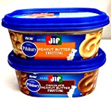 Pillsbury-Jif PEANUT BUTTER FROSTING Variety 4-Pack, 2 containers each of: PEANUT BUTTER FROSTING; CHOCOLATE PEANUT BUTTER FROSTING + BONUS Set of Heavy Duty Plastic Utensils