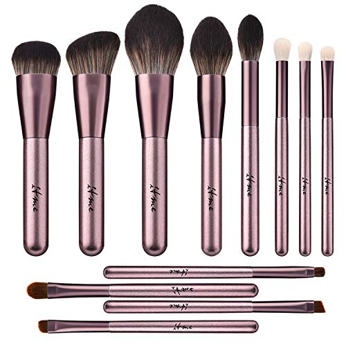 ITME Makeup Brushes 12 Pcs Premium Synthetic Foundation Powder Concealers Eye Shadows Makeup Brush Sets (Champagne Gold, Microcrystalline Silk)