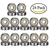 #7: ipccam 24 Pack 608ZZ Deep Groove Ball Bearing, Precision Bearings 8 mm X 22 mm X 7 mm, Double Shielded Metal Seal, Suitable for Linear Motion, Wheels, Skateboard, High Speed & Durable