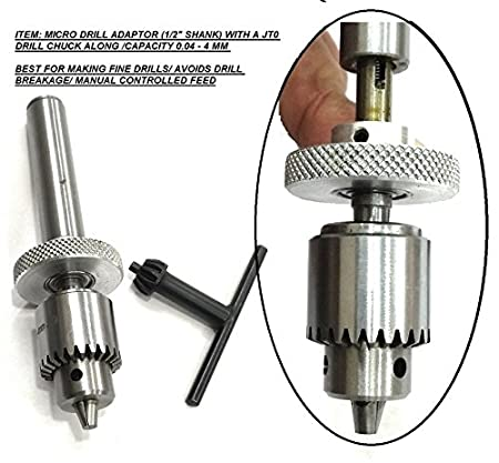 """micro small drill adaptor 1/2"""" shank & jt0 taper chuck-lathe,mill ..."""
