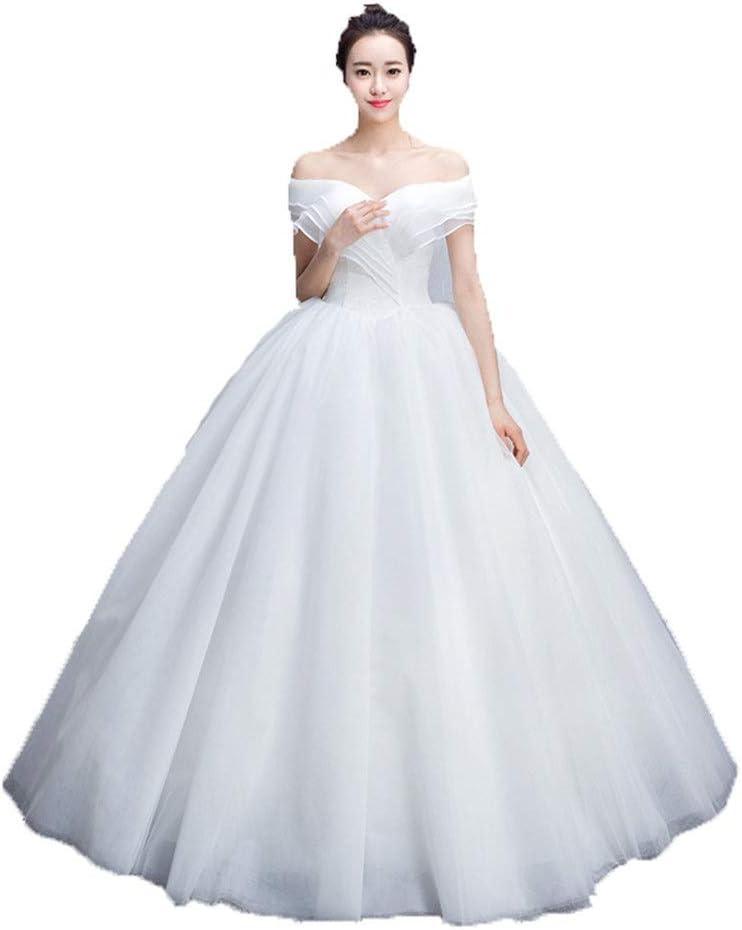 花嫁のウェディングドレス 女性の時間蓮の葉の恋人の花嫁のウェディングドレスメッシュガーゼの花嫁のダンスドレスのイブニングドレスワードドレスの公式 花嫁のドレス (色 : 白, サイズ : XL)