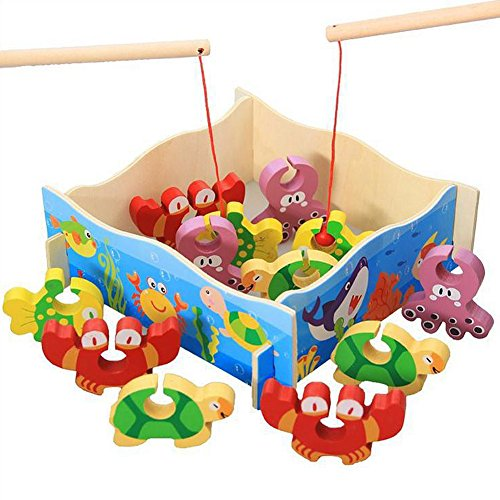 HaloVa Natural Wooden Fishing Game Early Childhood Parent-child Educational Puzzle Games Fish Crab Block Toys (Tackle Crab)