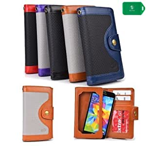 2 IN 1 MUTLI FUNCTIONAL WALLET- PHONE POCKET/CARD INSERTS/FULL LENGTH BILL SLOT- PROTECTIVE TOUCH SENSITIVE WINDOW- -UNIVERSAL FIT FOR AT&T GoPhone Nokia Lumia 520 Pre-paidPhone
