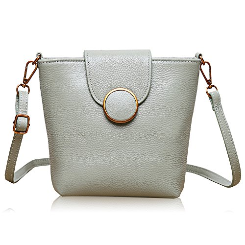 Handbag Magnet (Dexmay Real Leather Bucket Bag Crossbody Nice Hasp Shoulder Handbags Sling Messenger Purse Mint)
