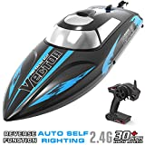 VOLANTEXRC Remote Control Boat for Pools and Lakes, High Speed 19mph Radio Control Boat Vector30 for Kids and Adults, 2.4Ghz RC Boat with Self-righting, Reverse for Boys and Girls (795-3 Black)