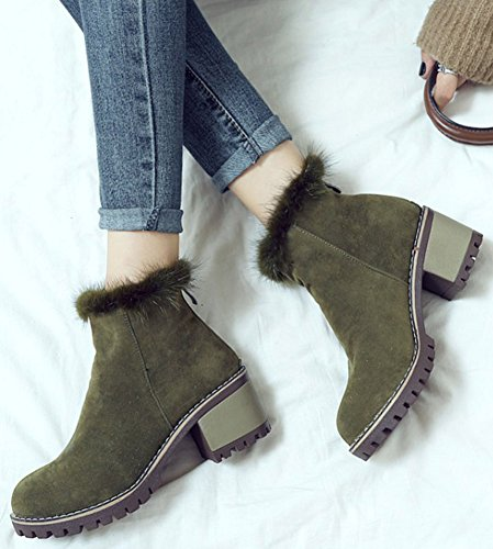 IDIFU Womens Trendy Faux Suede Zip Up Round Toe Block Mid Heeled Ankle High Boots Army Green lk1jOgPqi