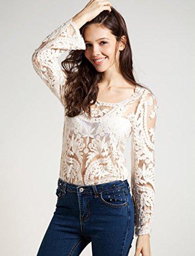 fancyqube - Camiseta de manga larga - para mujer Beige