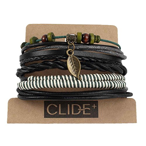 CLIDE + 4 Pcs Braided Leather Bracelet for men Cuff Wrap Bangles Wristbands Adjustable No.5