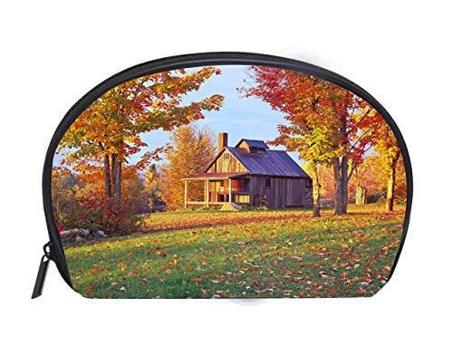 Multi-function/Half-moon Cosmetic Bag A cottage in a country side in Vermont in Autumn Travel Cosmetic Case Luxury Makeup Artist Bag ()