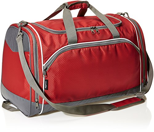 51A80EgErQL - AmazonBasics Small Lightweight Durable Sports Duffel Gym and Overnight Travel Bag - Red