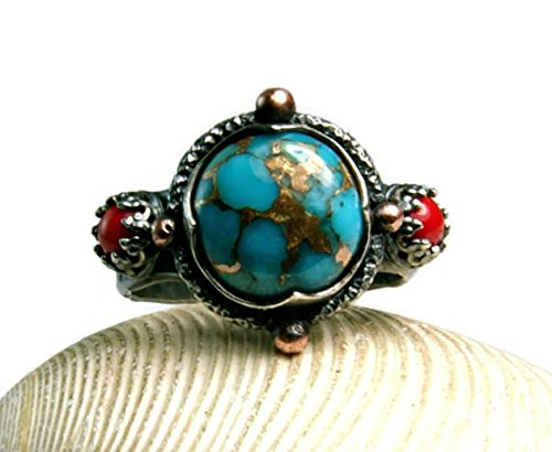 Copper Turquoise Compass Ring Sterling Silver Coral Jewelry
