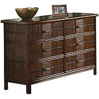 Hospitality Rattan 710-5270-ATQ Polynesian Six Drawer Dresser