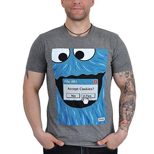 Sesamo Apriti - T-shirt del Cookie Monster della marca chunk - Fun T-shirt in ottima qualità - Grigio