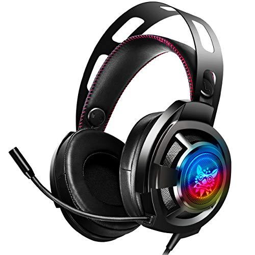 Auriculares para juegos ONIKUMA: auriculares para juegos para Nintendo Switch, PS4, Xbox One, PC, Mac, auriculares con cancelación de ruido para auriculares con micrófono, orejera de memoria suave, sonido envolvente de graves estéreo y luz LED RGB