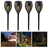 Premium Quality Solar Path Torches Lights Dancing Flame Lighting 96 LED Dusk to Dawn Auto On/Off Flickering Tiki Torches for Patio Deck Yard Wedding Outdoor Party (4-Pack)