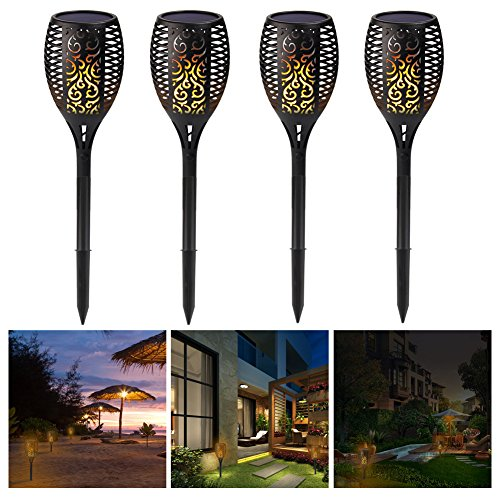 Premium Quality Solar Path Torches Lights Dancing Flame Lighting 96 LED Dusk to Dawn Auto On/Off Flickering Tiki Torches for Patio Deck Yard Wedding Outdoor Party (4-Pack) by cjc