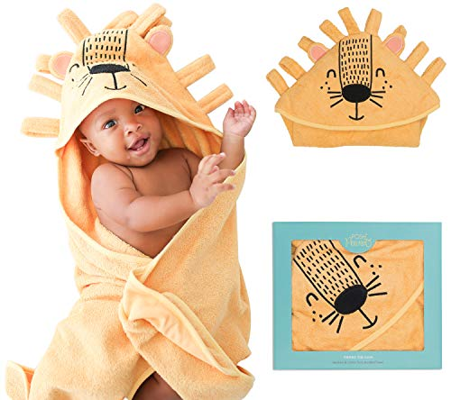 (Posh Peanut Baby Hooded Towel – Highly Absorbent Cotton Infant Baby Boy Towel for The House, Beach, Pool – Super Soft Newborn Drying Bath Towel – Great Baby Shower Gift Idea (Lion))