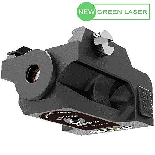 Laspur USA Mini Tactical Low Profile Rail Mount Green Dot Laser Sight with Build-in Rechargeable Battery for Rifle, Black, Made of Polymer, Gift with Charger with USB Cable