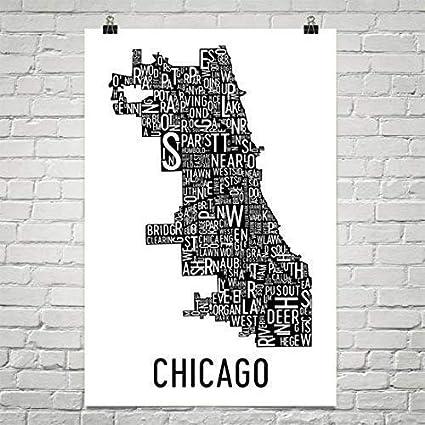 Chicago Map Art Amazon.com: Chicago Typography Neighborhood Map Art City Print