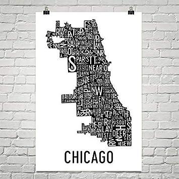 "Modern Map Art Ciudad de arte de Chicago tipografía barrio mapa de impresión 12 """