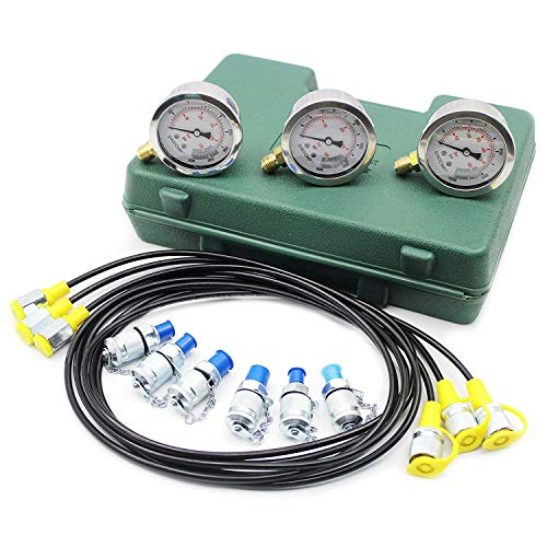 Upgraded Version Hydraulic Pressure Gauge Kit - SINOCMP Excavator Hydraulic Kit Stainless Steel Pressure Gauge Test Gauge Kit for Excavators, 2 Years Warranty (Gauge Pressure Steel)