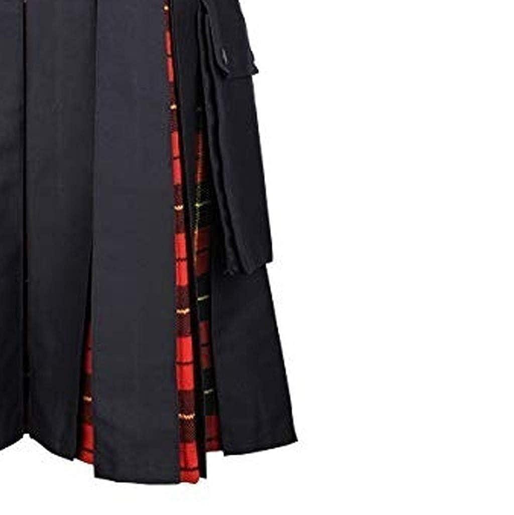 Beautyfine 2019 Fashion Mens Gothic Pleated Skirts Vintage Kilt Scotland Kendo Pocket Scottish Clothing