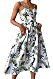 Miss Floral Women's Bardot Button Through A-Line Midi Strappy Dress 23 Style Size 6-20