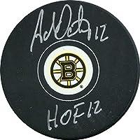 Adam Oates HOF 12 Autographed Boston Bruins Puck - Autographed NHL Pucks photo
