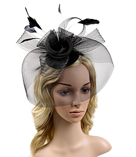 Urban CoCo Women's Elegant Flower Feather and Veil Fascinator Cocktail Party Hair Clip Hat (Urban Hats)