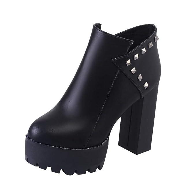 POLP Botas Tacones Botines de Cuero Plataforma Impermeable Botas Impermeables Botas de Agua Mujer Lluvia Botas Mujer Invierno Zapatos señora Invierno Botas ...