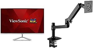 ViewSonic VX3276-4K-MHD 32 inch Frameless 4K UHD Monitor with AmazonBasics Premium Single Monitor Stand - Lift Engine Arm Mount, Aluminum - Black Bundle