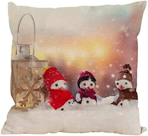 Pgojuni Christmas Snowman Cotton Linen Pillow Case Cushion Cover Pillow Cover for Sofa/Couch 1pc 18