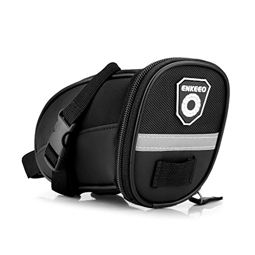 Enkeeo Strap-On Saddle Bike Bag Bicycle Seat Pack Wedge Pack Pouch Splashproof with Straps, Sealed Zipper, Reflective Stripe, Nylon Fabric for Outdoor Cycling (Black) (Loop Lock Blue Padded Seat)
