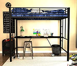 Amazon Com Emily Premium Twin Loft Bunk Bed With Desk