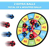 Kids Dart Board Game with 6 Balls Using Hook-and-Loop Fasteners | 11.8 Inches (30 cm) Diameter | Classic Game and Safe for Kids