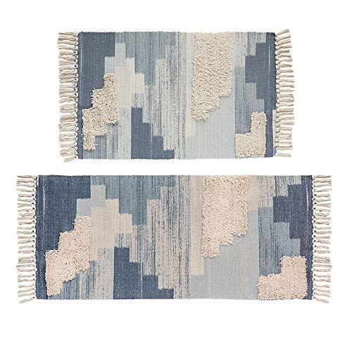 Tufting Cotton Area Rug and Runner Set,HiiARug Woven Cotton Area Rug Set 2 Piece Washable Throw Rugs for Living Room Bedroom Laundry Room Blue 2'x3'+2'x4'4