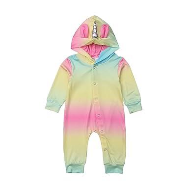 9a90788f4a84 Amazon.com  Newborn Baby Boys Girls Unicorn Hooded Romper Colorful ...