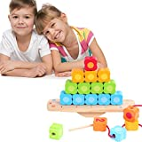 Wondertoys Number Wooden Balancing Game Lacing Beads Stacking Blocks Learning Early Educational Toys for Age 3 4 5 Years Old and Up Children