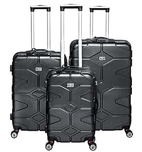 Set 3 Maletas Juego de Maletas de Viaje Trolley policarbonato carbon gris negro con Ruedas negro 40002: Amazon.es: Equipaje