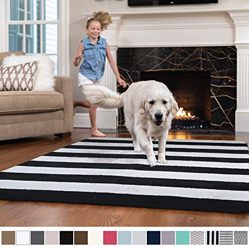GORILLA GRIP Original Faux-Chinchilla Nursery Area Rug, (4' x 6') Super Soft & Cozy High Pile Washable Carpet, Modern Rugs for Floor, Luxury Shag Carpets for Home Bed/Living Room (Stripe: Black/White)