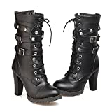 Susanny Women's Mid Calf Leather Boots Chic High Heel Lace up Military Buckle Motorcycle Cowboy Black Ankle Booties 8.5 B (M) US