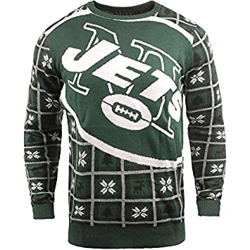 sports shoes 4e8a7 46d52 BIG NFL Ugly Sweater Pullover Christmas New York NY Jets ...