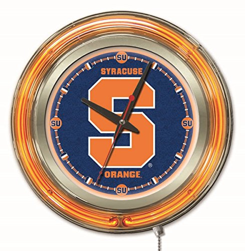 Syracuse Orange HBS Neon Orange Navy College Battery Powered Wall Clock (15'') by Holland Bar Stool Co.