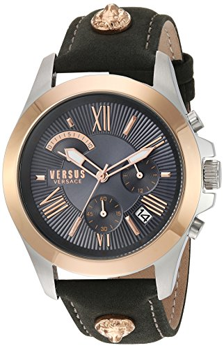 Versus by Versace Men s   Chrono Lion Extension Quartz Gold and Leather  Watch, Color  123be53dceb