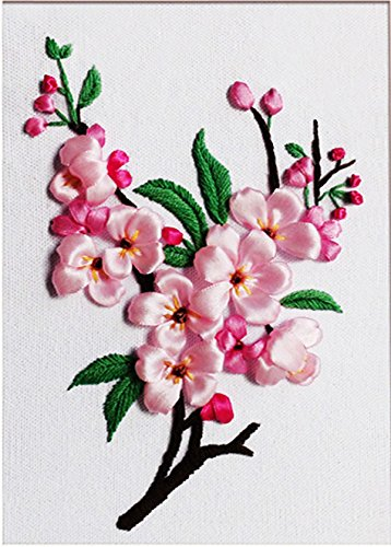 Free Embroidery Ribbon - Cozy Hut Ribbon embroidery Kit Handmade flower design for beginner DIY Wall Decor Peach blossom(No frame, Hoop for free)
