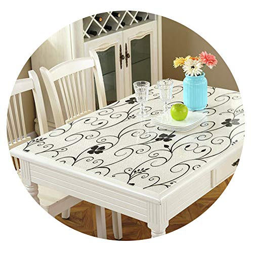 God of Fortune European Color Geometry Soft Plastic Glass PVC Tablecloth Waterproof and Heat Resistant Table mat Party Decoration Table Cover,Surround Flowers,60120cm